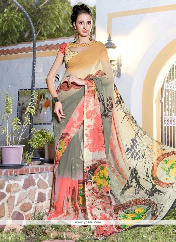 Beckoning Georgette Multi Colour Printed Saree Model: YOSAS0559