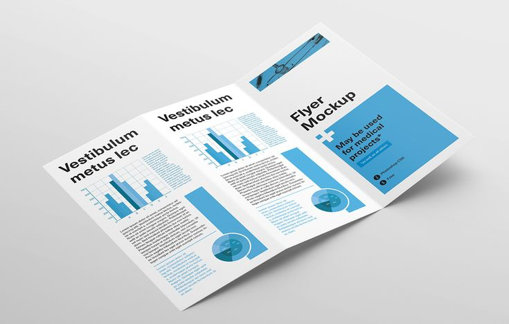 Tri fold flyer brochure mockup #free #psd #photoshop
