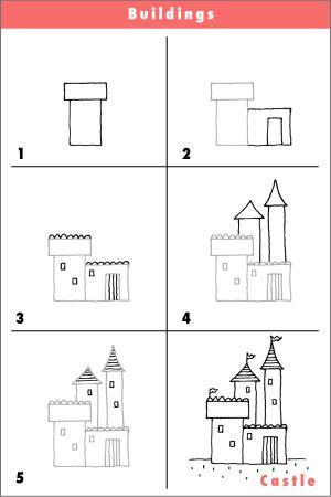 kasteel tekenen met kleuters, stap voor stap / dessin dirigé château