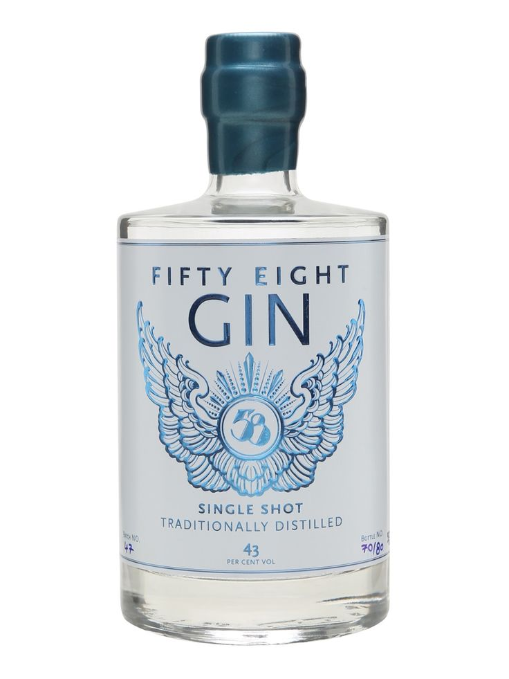 58 Gin: A slightly sweet gin with notes of pine, juniper, coriander and wood shavings