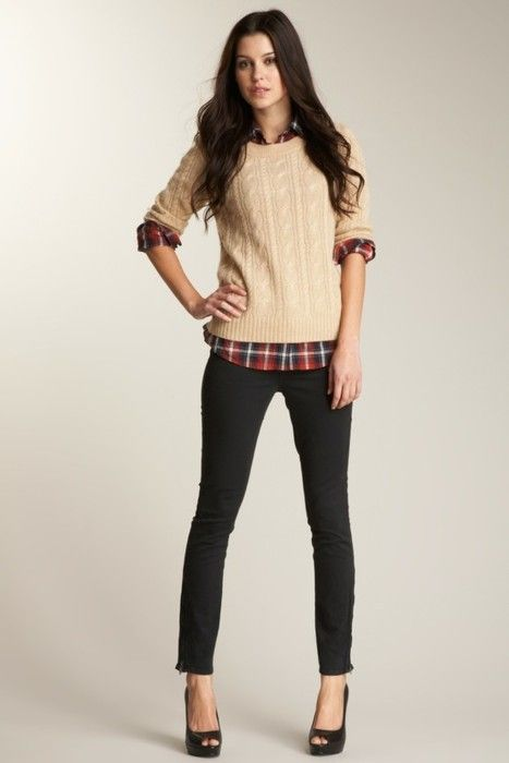 Love: cream sweater, colorful/flannel pattern button up, and black skinny pants/jeans