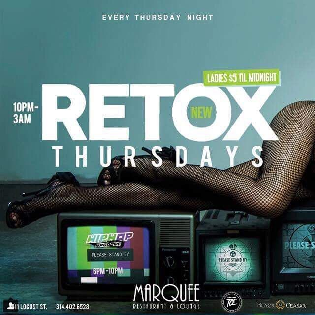 #Tonight #RetoxThursdays @themarqueestl Every Thursday.. This #Thursday We Going Up 10-3am #HipHopKaraoke 6-10pm 2 for 1 drink Specials til 10pm $1 #Wings all night #Hookah  _________________________________  Ladies Free Fellas $5 Til Midnight... Free Birthday Parties  For more info call 314-662-2318 @black__ceasar @iamjstarr #Delicious #Food #Music #Host #Dj #Dance #PositiveVibes #Epic #Bottles #Models #BottleGirls #Waitress #Events #ThursdayNights #BCF #TCE #JStarr #BlackCeasar