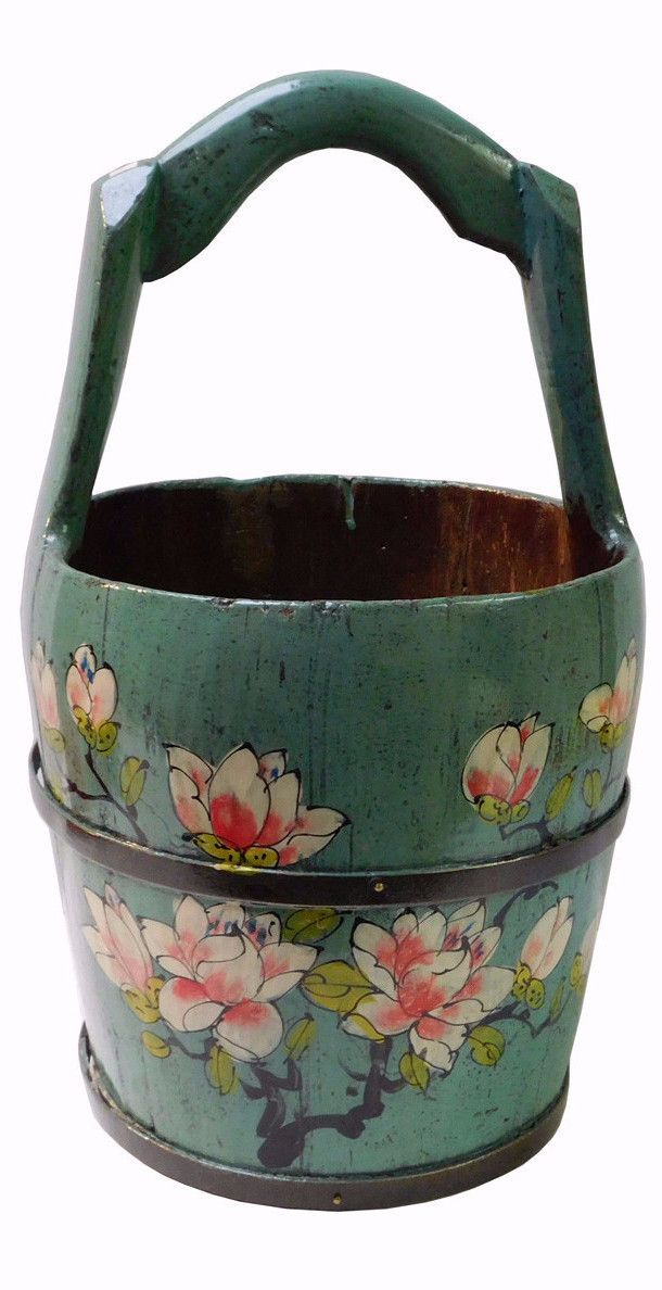 Handmade Traditional Chinese Light Navy Blue Color Floral Oval Wood Bucket n151S