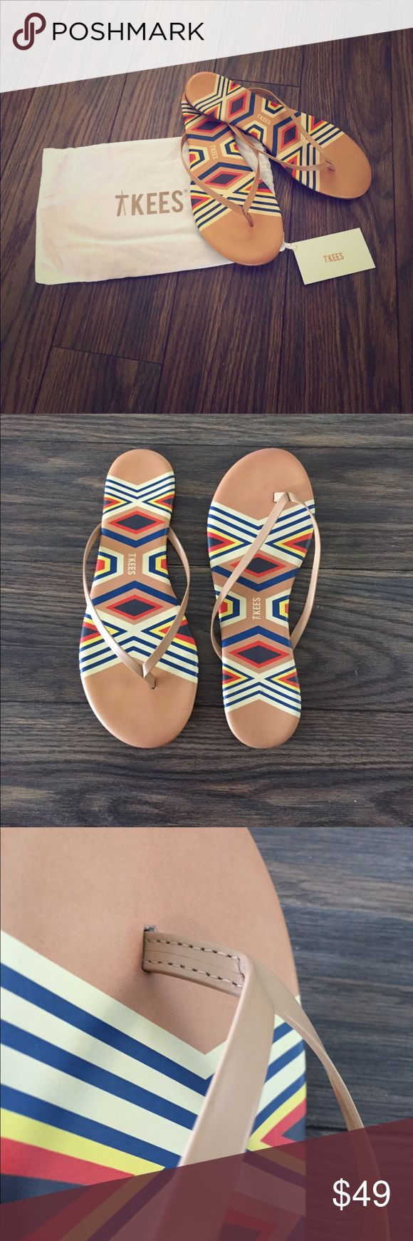 TKEES flip flops. In original packaging Bright geometric print on a warm camel brown leather base. Leather straps. Barely worn TKEES Shoes Sandals