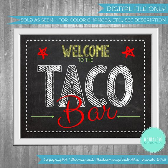 Taco Bar Party Food Table Sign (Printable File Only