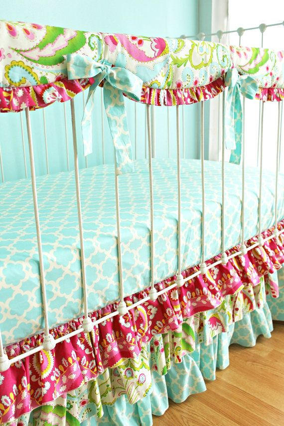 Coral Bumperless Crib Bedding  Coral Bliss design by LottieDaBaby, $320.00