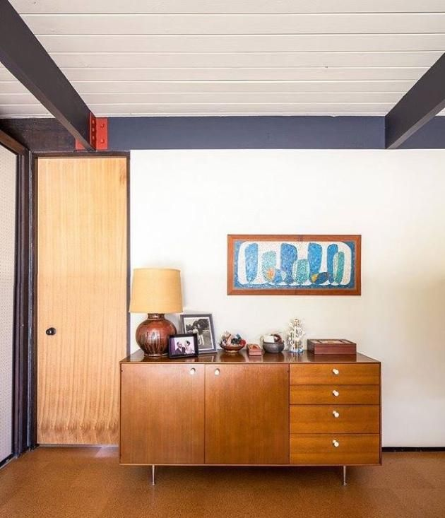 Love These Beams With The Red Detailing   Craig Ellwood, Bobertz Residence, San  Diego County 1953