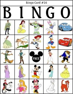 DISNEY BINGO... is the perfect for in the car to Disney land or at Disney land.