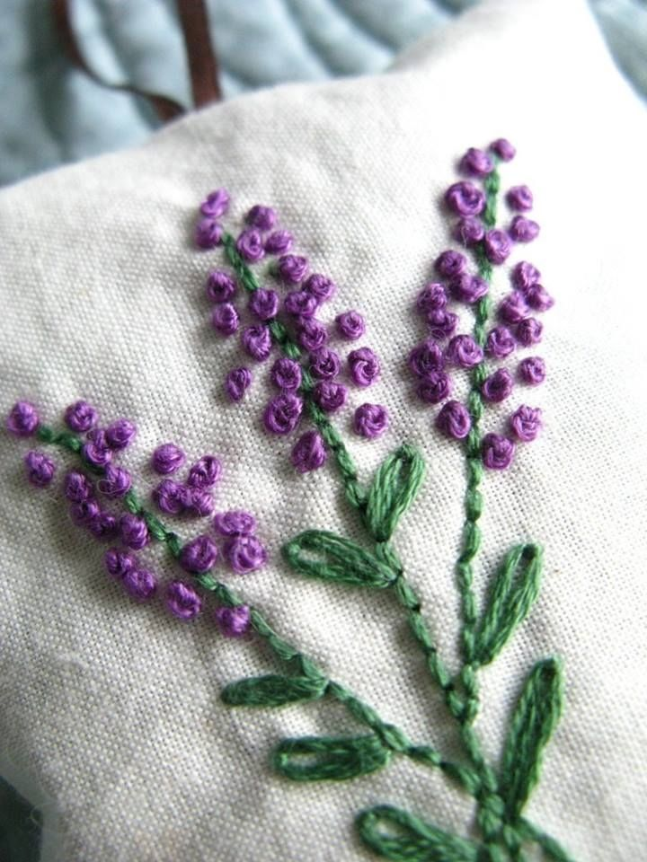 Lavender - French Knot Embroidery. I can't make a French knot to save my life so I use Colonial knots. They look the same.