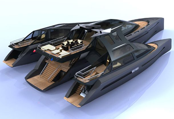 Designed to run through waves rather than over them, the futuristic looking Harizon yacht is designed to do everything as efficiently as possible.