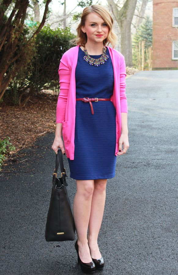 blue dress and j crew pink cardigan navy pink blue
