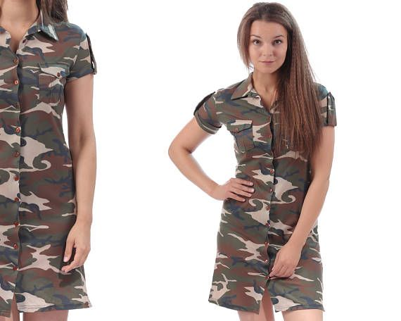 Military Dress 90s CAMOUFLAGE Drab Green Army Style Tee Dress Button Up Mini Dress Short Sleeve Khaki Plain 1990s T Dress Small