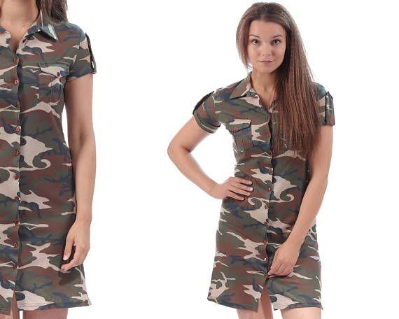 Military Dress 90s CAMOUFLAGE Drab Green Army Style Tee Dress Button Up Mini Dress Short Sleeve Khaki Plain 1990s T Dress Small