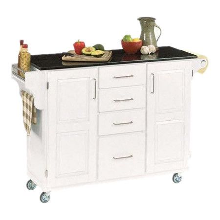 Prepare delicious desserts and organize cookware with this granite-topped kitchen cart in white, featuring 2 doors and 4 drawers.