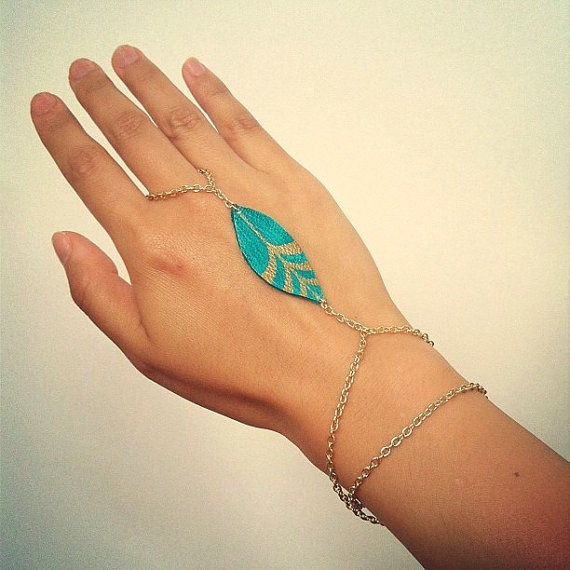 Leather Leaflet Gold Bracelet handpainted teal by NayaJewelry, $25.00