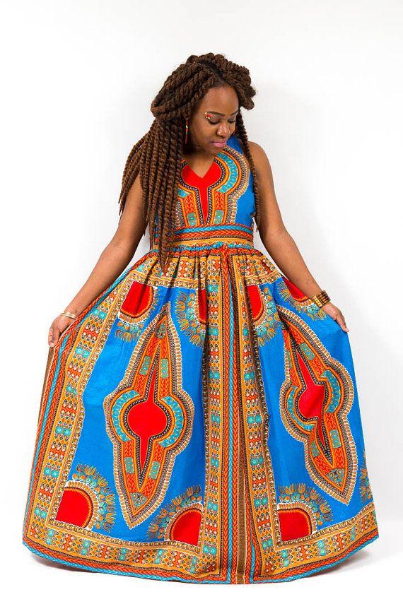 Dashiki Maxi Dress by TashiaSimilaoCollec on Etsy