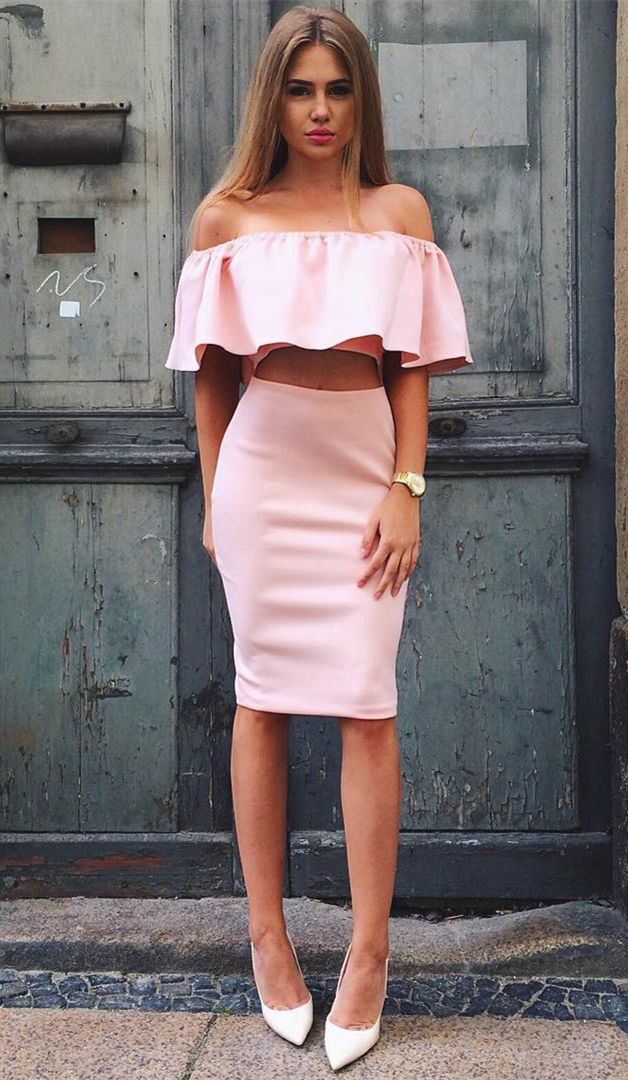two piece pink short prom party dresses, off the shoulder