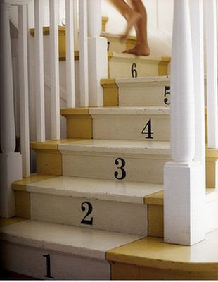 Painted stair runners...fun idea.