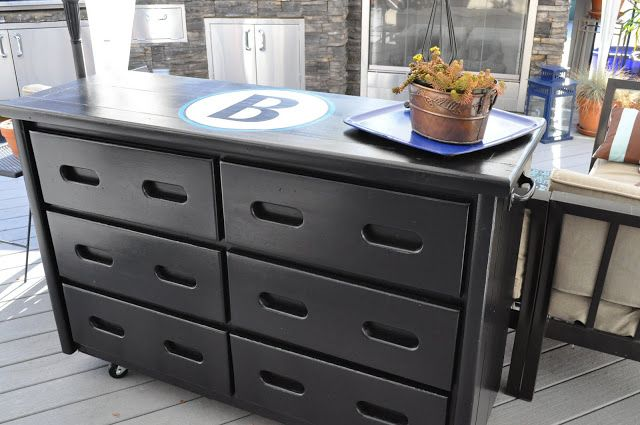 From Dresser To Outdoor Buffet Table With Wheels To Move