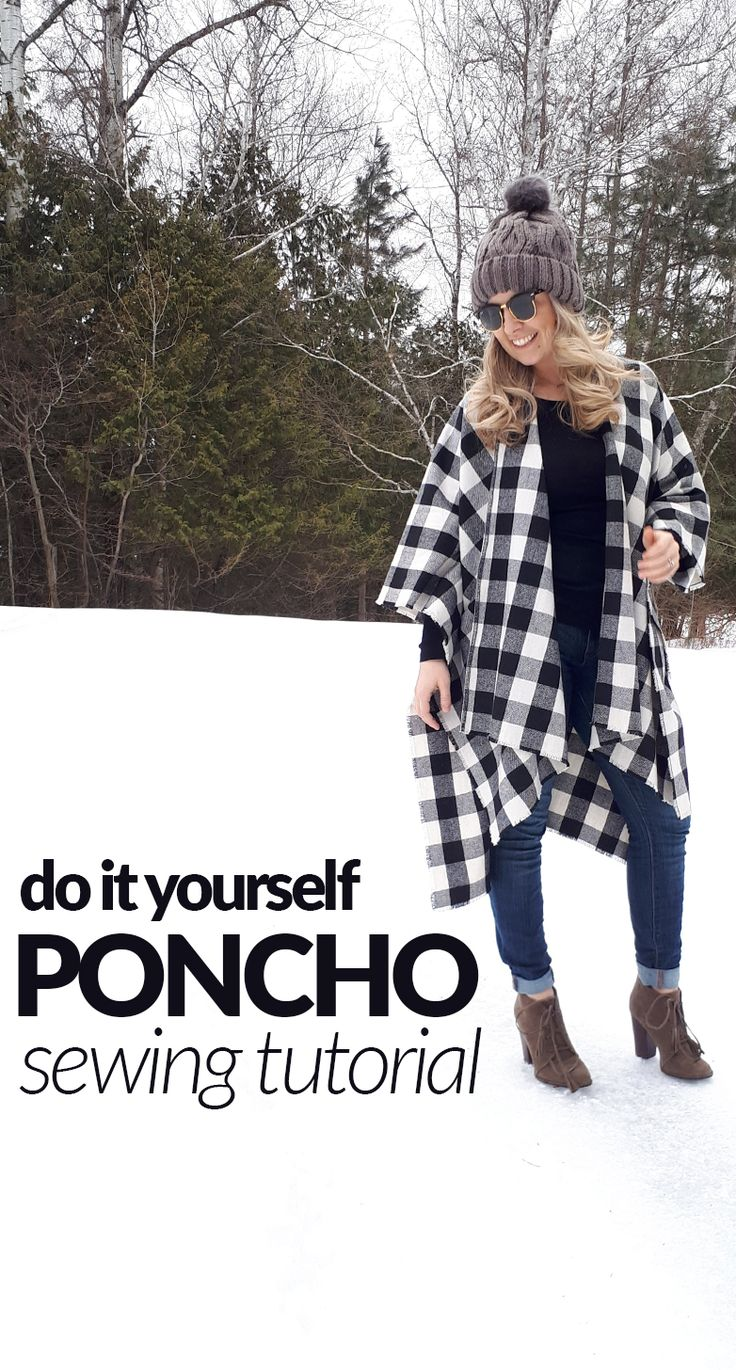 DIY poncho free sewing tutorial!  Easy do it yourself poncho or cape.  30 minutes sewing project.  Beginner sewing.  Winter outfit. Teacher outfit. Pompom hat.