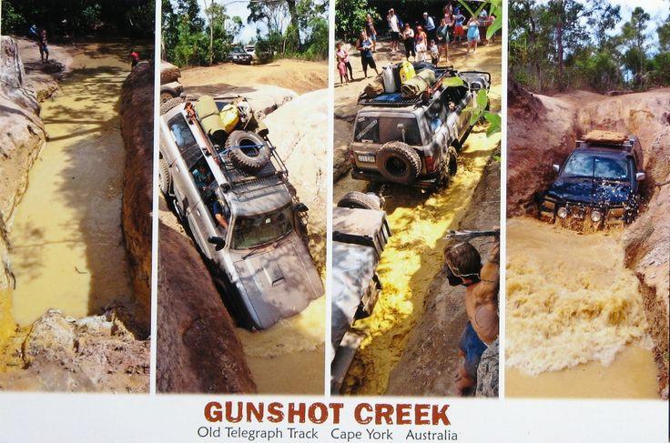 Postcard depicting Gunshot Creek crossing, Cape York. Come prepared!