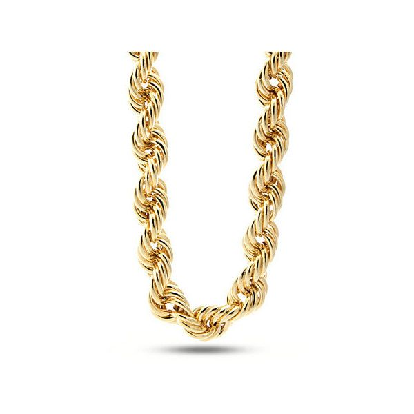 King Ice 20mm Run DMC Yellow Gold Rope Dookie Chain ($120) ❤ liked on Polyvore featuring men's fashion, men's jewelry, men's necklaces, gold, mens gold rope necklace, 14k gold mens necklace, mens 14k gold rope chain necklace, mens gold rope chain necklace and mens rope chain necklace