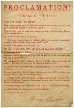 """United States Marine Corps recruiting circular: """"Proclamation! -- Citizens of St. Louis,"""" ca. 1918 