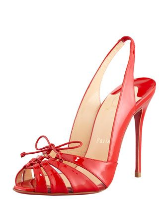 Christian Louboutin Corsetica Patent Leather/PVC Slingback Red Sole Sandal