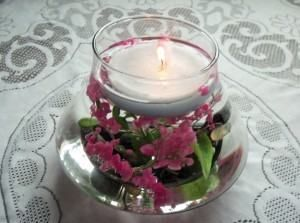Arranjo de Mesa Com Flores Submersas
