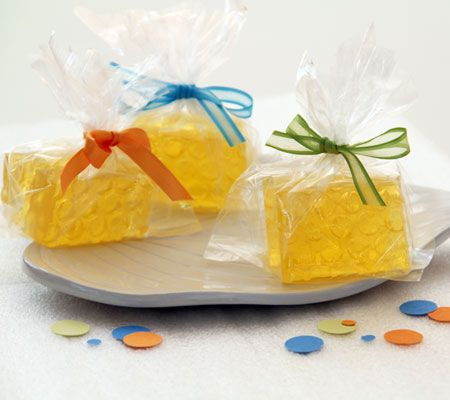 Faux Honeycomb Gift Soap Favors. These gift soaps make a honey of a favor for a Winnie the Pooh themed baby shower.