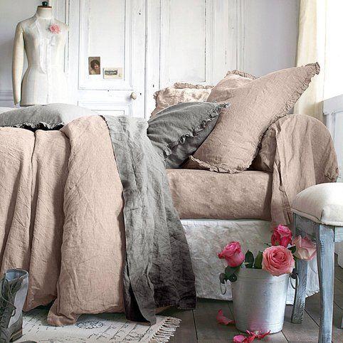 Taie d'oreiller ou de traversin lin lavé uni