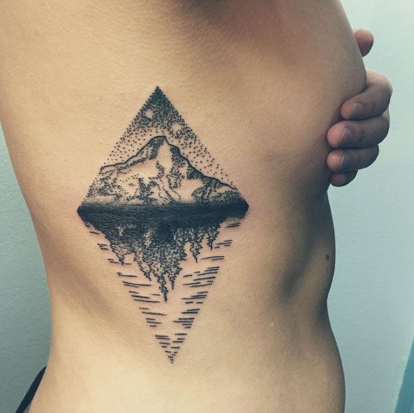 Mt. Hood Tattoo on Ribcage by Em White