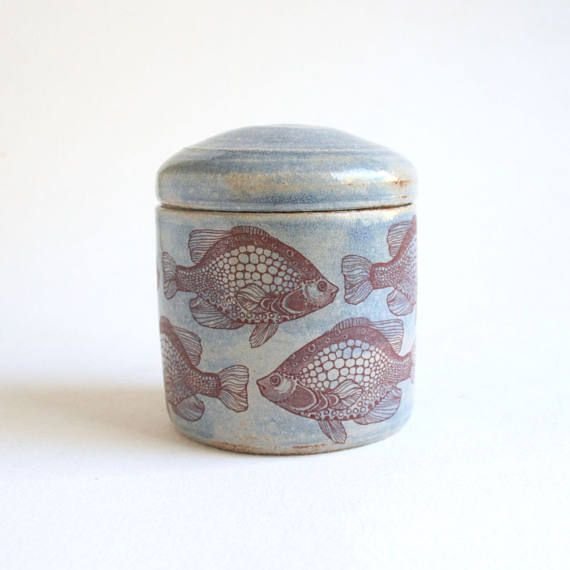 Blue Fishes Urn  3.5  small urn pet urn urn with