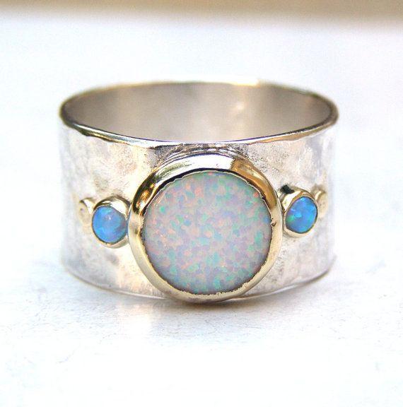 Único anillo de compromiso, anillo de ópalo, anillo de compromiso de oro y plata, anillo boda, anillo de piedras preciosas, anillo de…