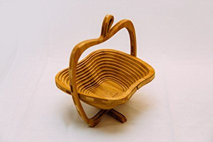 Collapsible Bamboo Apple Shaped Fruit and Veggie Basket
