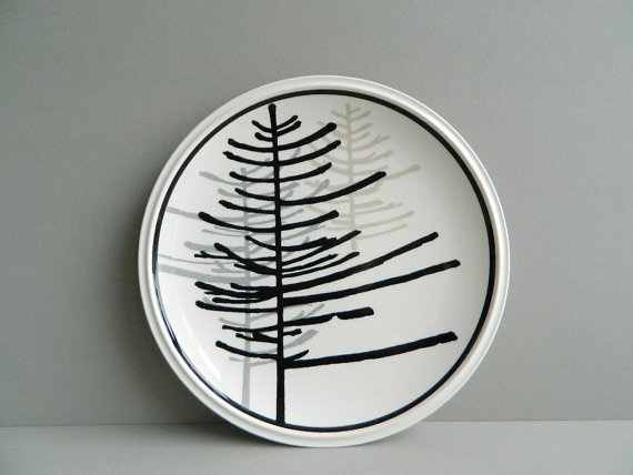 Mikasa Modern Black and White Christmas Tree Plate by MonkiVintage, $16.00