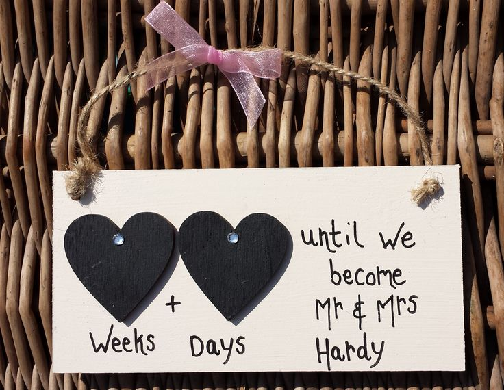 Wedding Double Heart Countdown 'Pink Ribbon' Plaque