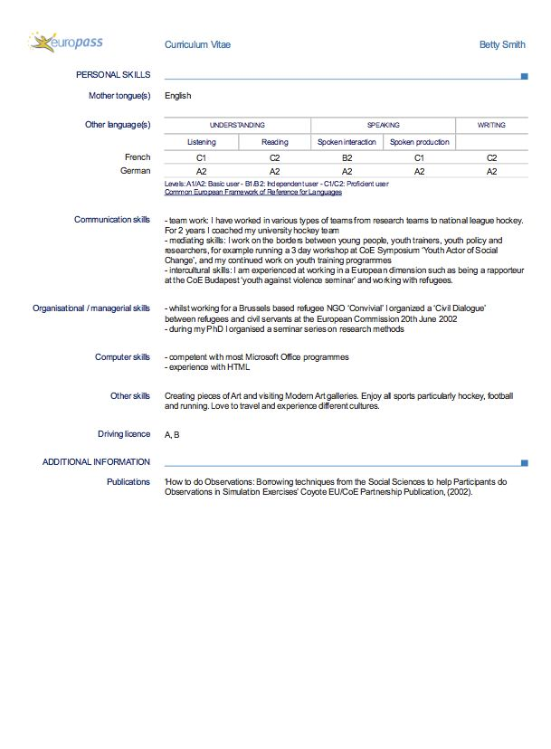 This Examples Europass Cv English. We Will Give You A Reference Start On  Building Resume. You Can Optimized This Example Resume On Creating Resume  For Your ...