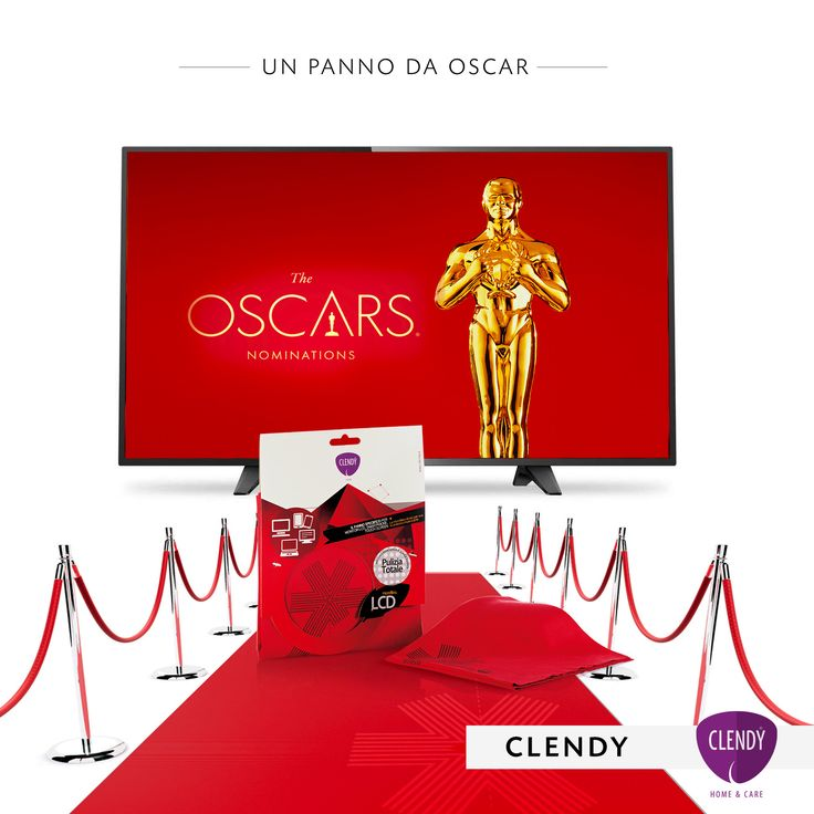 """And the Oscar goes to…"" Red Carpet Panno LCD  Per seguire al meglio la cerimonia di consegna degli Academy Awards rendi pulito e brillante lo schermo della tua Tv con il Panno LCD Clendy specifico per monitor e display. #oscars #andthewinneris #clendy #tv #academyawards #interior #casa #consigli www.clendy.it"