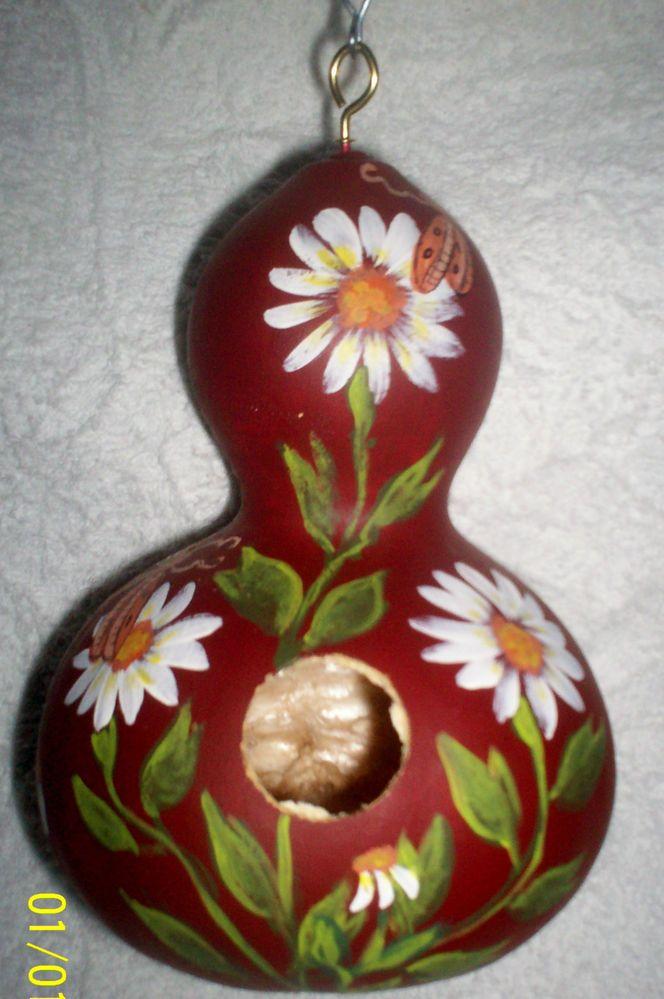 Daisies & Butterflies In the Garden Deep Red Hand  Painted Gourd birdhouse Art