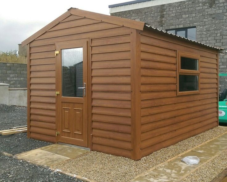 The new Woodgrain PVC Coated Steel Garden Shed / Home Office From €2100. Price Includes Standard Non Drip Roof, Woodgrain PVC Window + Woodgrain PVC Door Optional Extras Include: Tile Effect Roofing, Wooden Flooring, 25mm / 40mm Insulation www.stsheds.com Botley Lane, Portarlington.