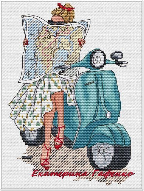 0 point de croix fille avec carte routiere sur un scooter - cross stitch girl with a map on a scooter