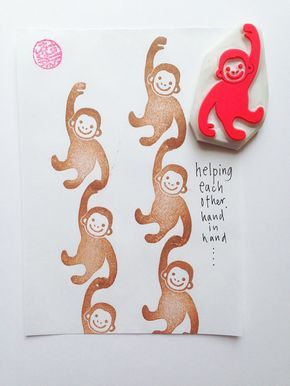 cheeky monkey stamp. hand carved rubber stamp. animal rubber stamp. gift wrapping/birthday diy projects. craft with children