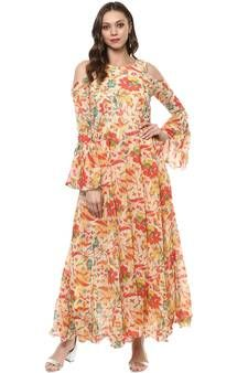 f69b2151072 Buy Beige printed georgette kurtas-and-kurtis kurtas-and-kurtis online