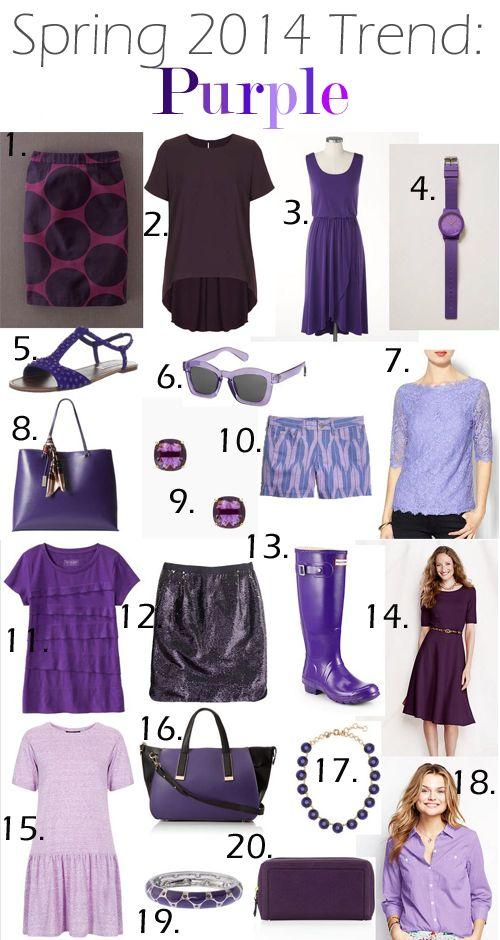 Spring 2014 Trends - Purple.  Purple is my favorite color!!!!!!!!!!