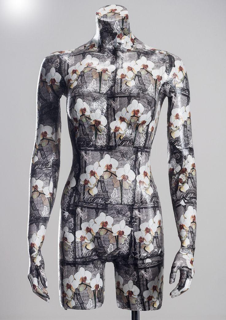 Decoupage pattern #FemaleMannequin #orchid #handicraft #femaletorso #headless