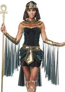 Dit gave Cleopatra pakje is een kort jurkje in Cleopatra stijl met accessoires. Met dit pakje waan je je helemaal in de Egyptische tijd. Het jurkje is strapless met een langer stuk aan de achterzijde. De stof van het Cleopatra jurkje is zwart en heeft een bijzondere blauwe gloed in de stof met goud.   Set bestaat uit: - Cleopatra jurk - Gouden arm stukken - Cleopatra riem - Kroon met slagenkop - Kraag met gekleurde stenen