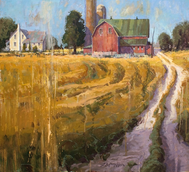 Jerry Markham, The Way Back Home, 32x36 oil, Mennonite Farm near Kitchener, Ontario (from Arabella Canadian Landscape Competition)