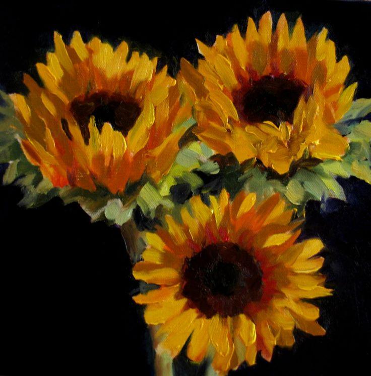 SUNFLOWER PAINTINGS | Nel's Everyday Painting: Sunflowers on Dark - SOLD