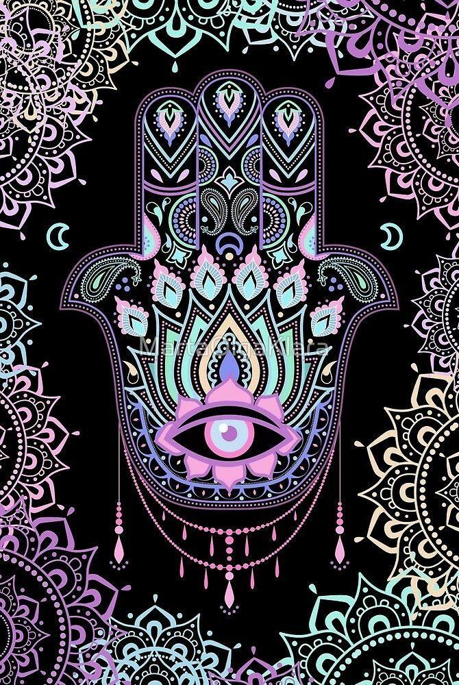 Enamel Pin Mano di Fatima Hamsa Glow In The Dark